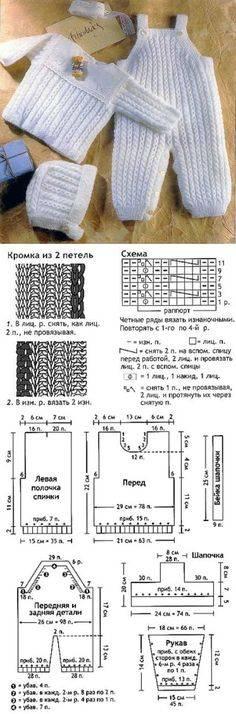 Детский комбинезон спицами, комбинезон для малыша спицами схема, вязаный комбинезон для новорождённых