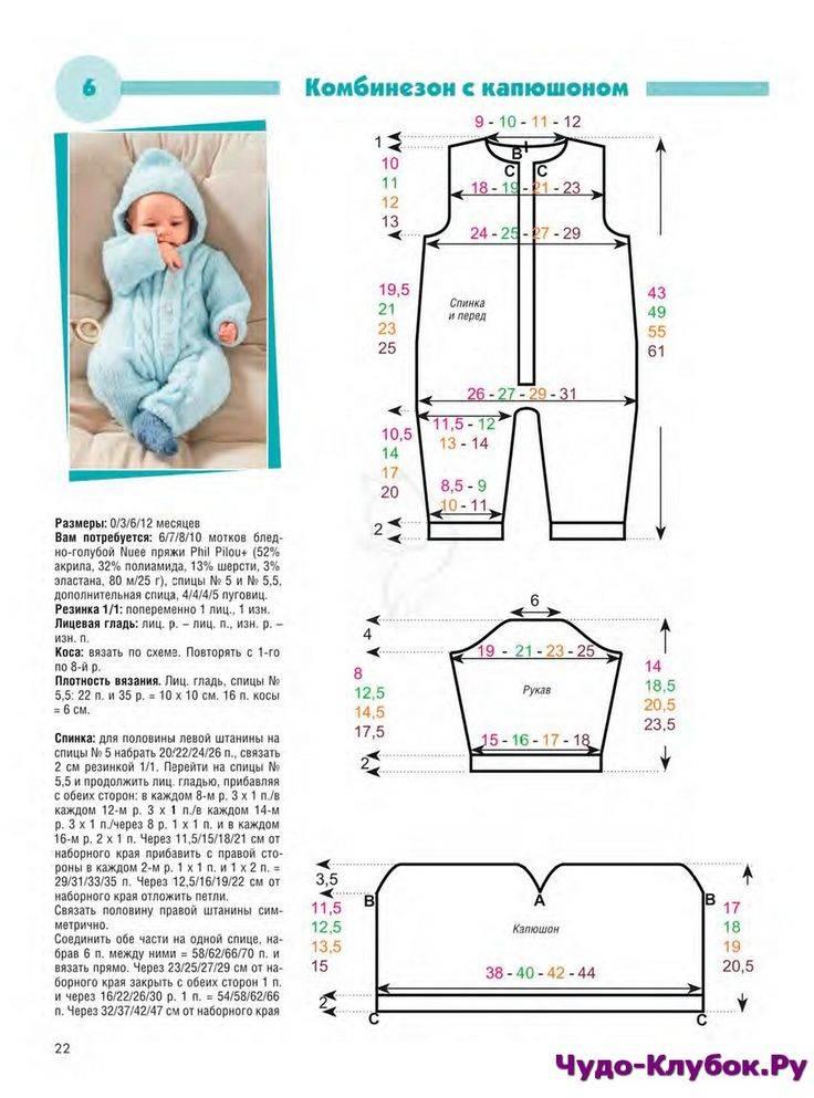 Комбинезон для новорожденных спицами: схемы с описанием, видео-уроки для начинающих