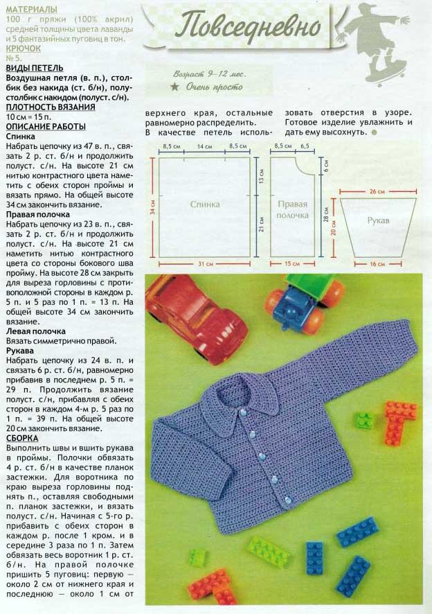 Кофточка для новорожденного спицами со схемой и примерами