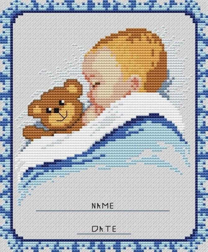 Метрика для новорожденных вышивка крестом схемы: скачать бесплатно ребенку, рождение мальчика и девочки, дата