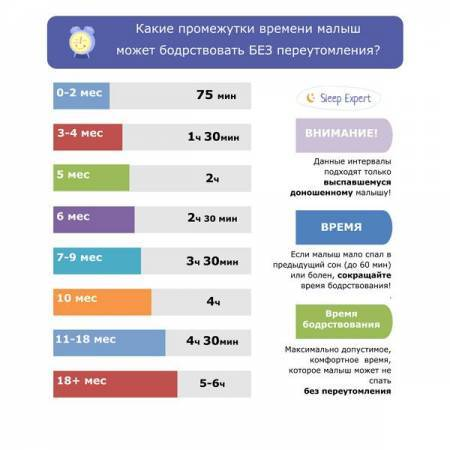Нормы сна и бодрствования детей до года, таблица