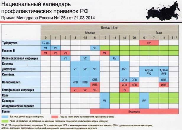 Календарь прививок от полиомиелита для детей и взрослых