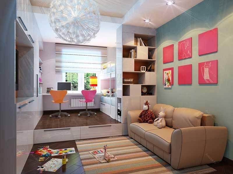 Гостиная и детская в одной комнате: как совместить 2 интерьера? (55 фото)