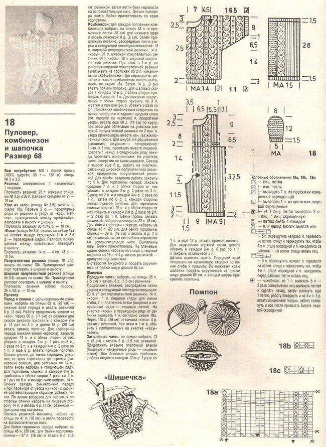 Вязаный комбинезон спицами: : схема и описание