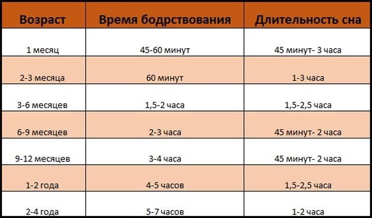 Сколько времени в сутки должен спать 6 месячный ребенок: днем и ночью, таблица