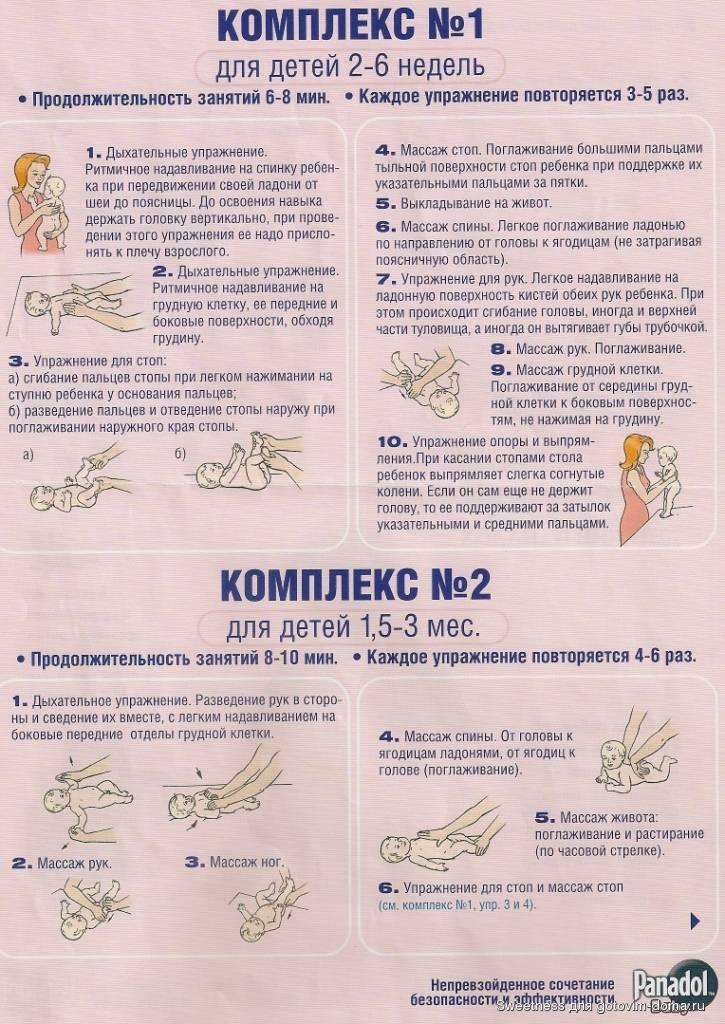 Гимнастика для новорожденных — комплекс упражнений