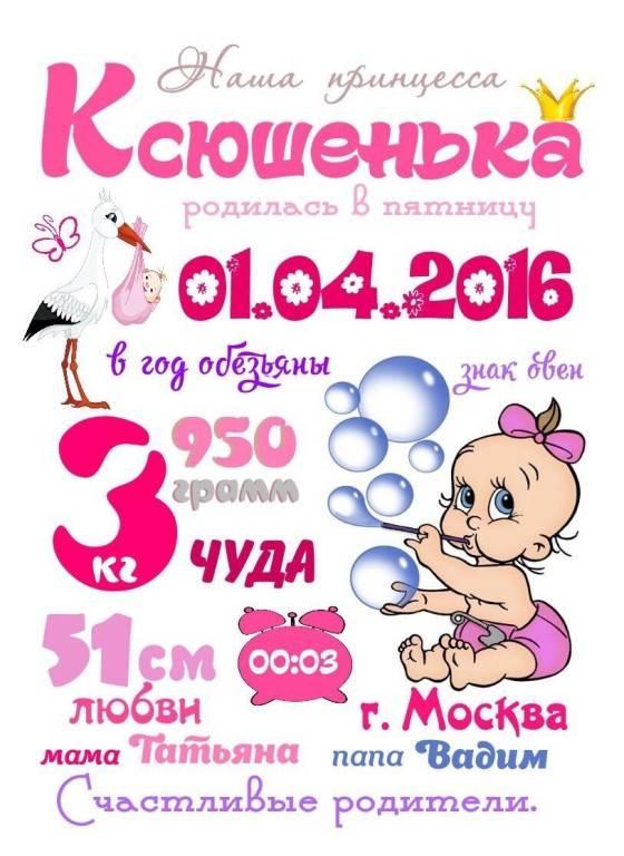 Метрики для новорожденных - вышивка и все о ней - страна мам