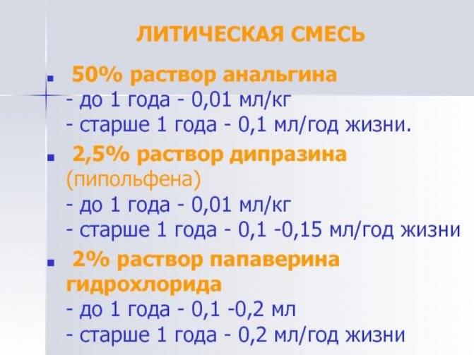 Литическая смесь для детей от температуры - состав и дозировка в таблетках и ампулах