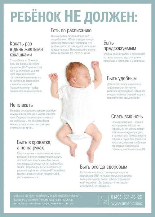 Сколько раз в день должен быть стул у новорожденного и в каком виде?