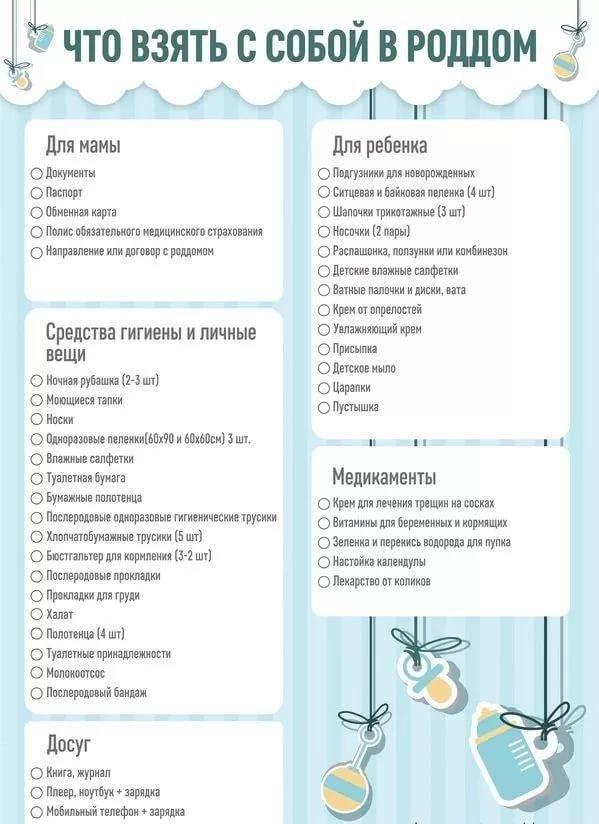 Список в роддом для мамы и малыша — необходимые вещи