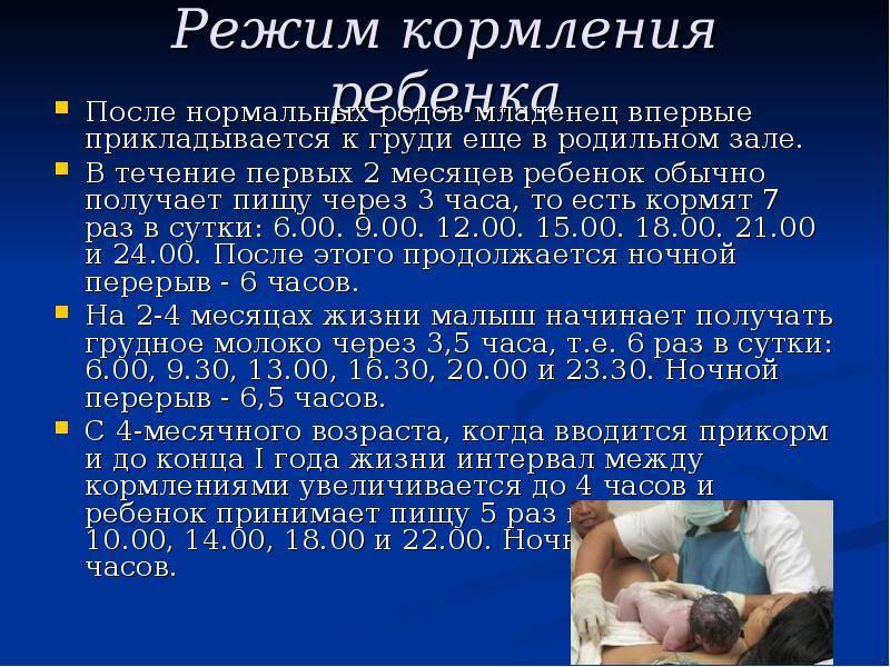 Кормление новорожденных в первые дни в роддоме, график, после кс