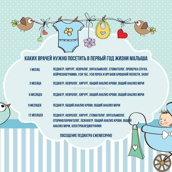 Ребенок до года: программа наблюдения и график посещения врачей