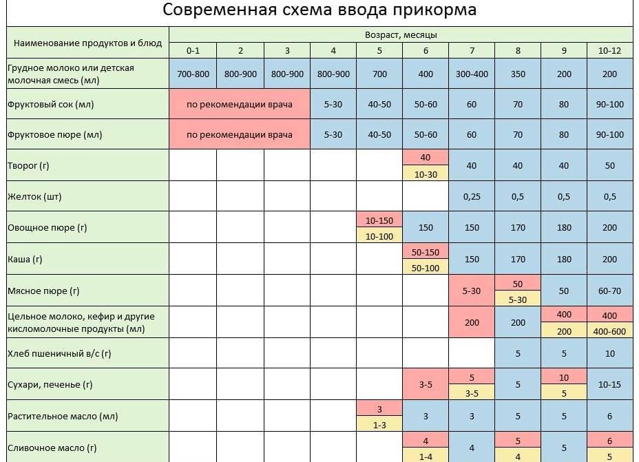Прикорм по комаровскому по месяцам ???? при грудном вскармливании: таблица, схема, правила