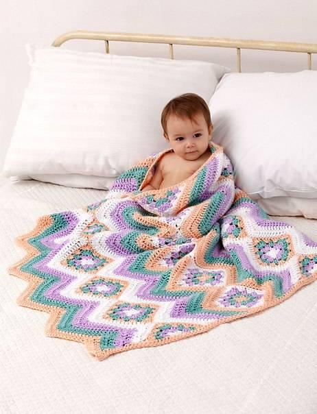 Плед крючком со схемами простые и красивые - детский плед, для новорожденного, бабушкин квадрат - мастер класс для начинающих