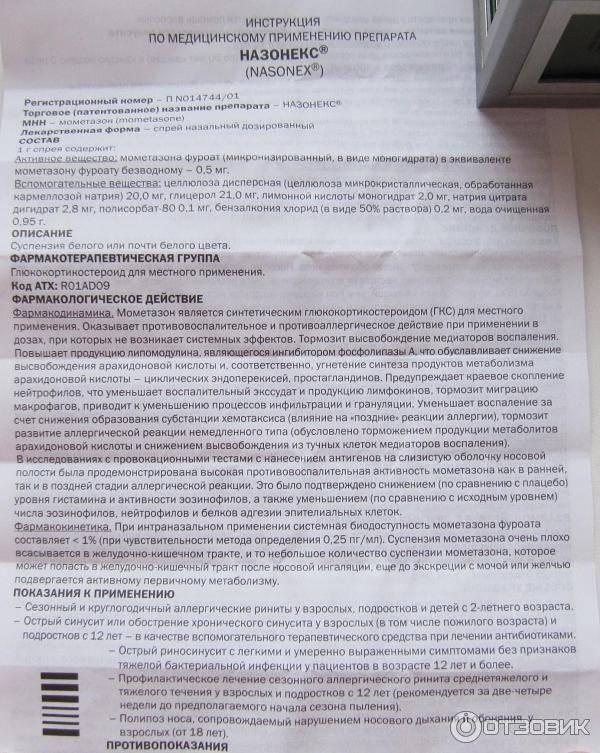 Назонекс — инструкция по применению | справочник лекарств medum.ru