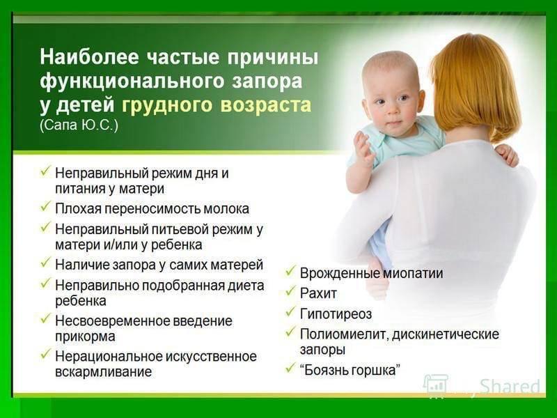 Запор у ребенка при грудном вскармливании