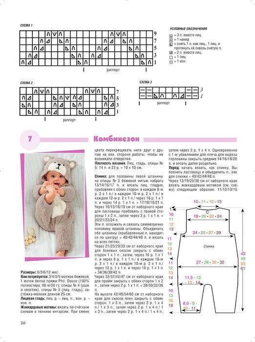 Как связать комбинезон для малыша от 0 до 6 месяцев спицами