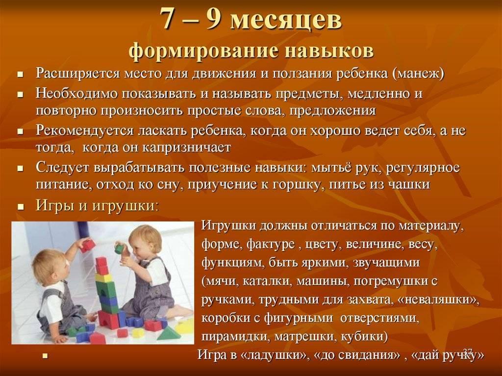 Развитие ребенка в 7-8 месяцев, что должен уметь