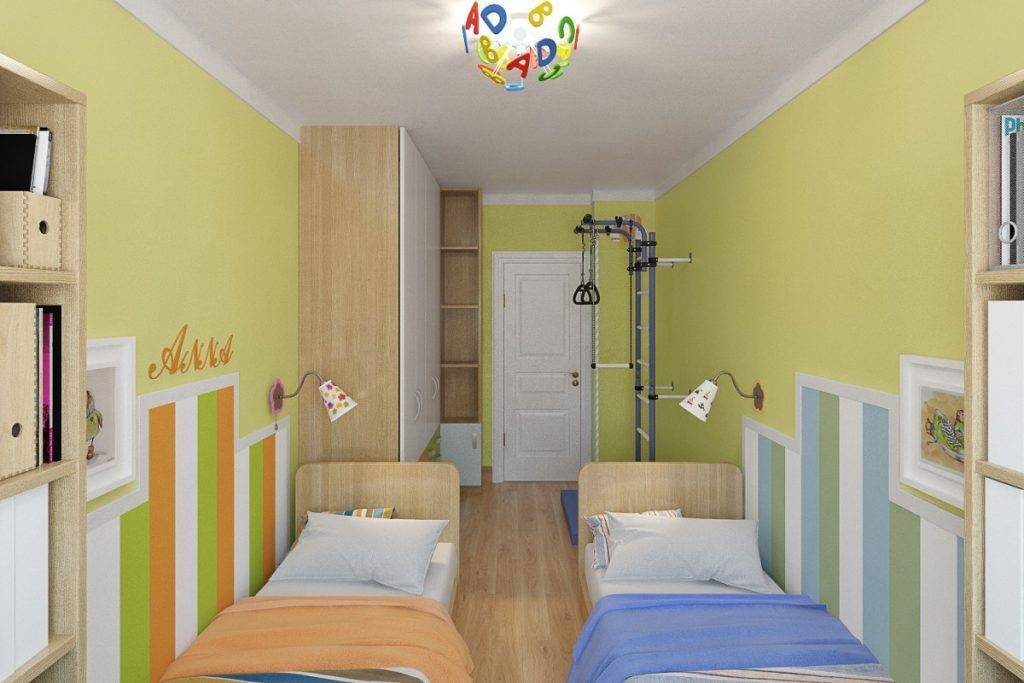 Дизайн детской длинной узкой комнаты