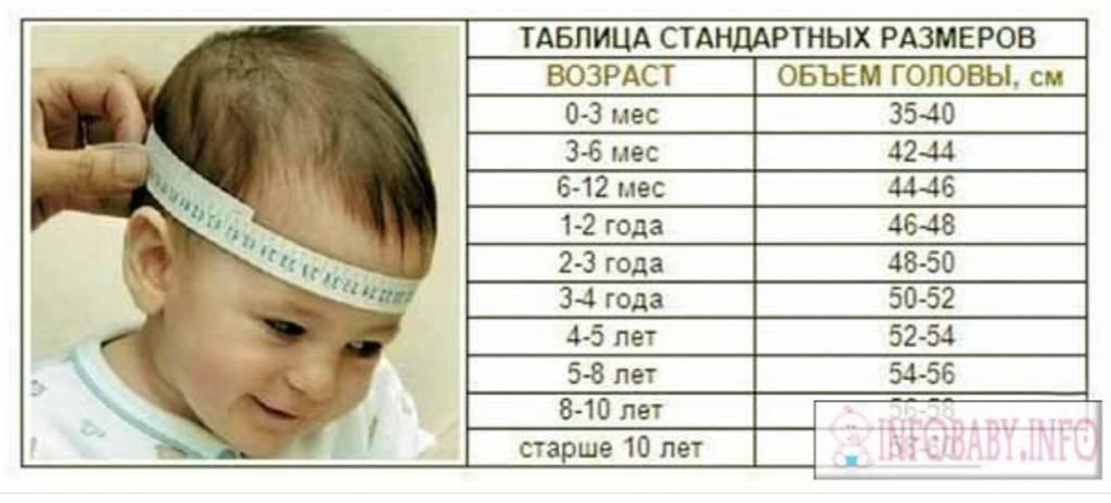 Размеры головы ребенка по месяцам после рождения: нормы и отклонения