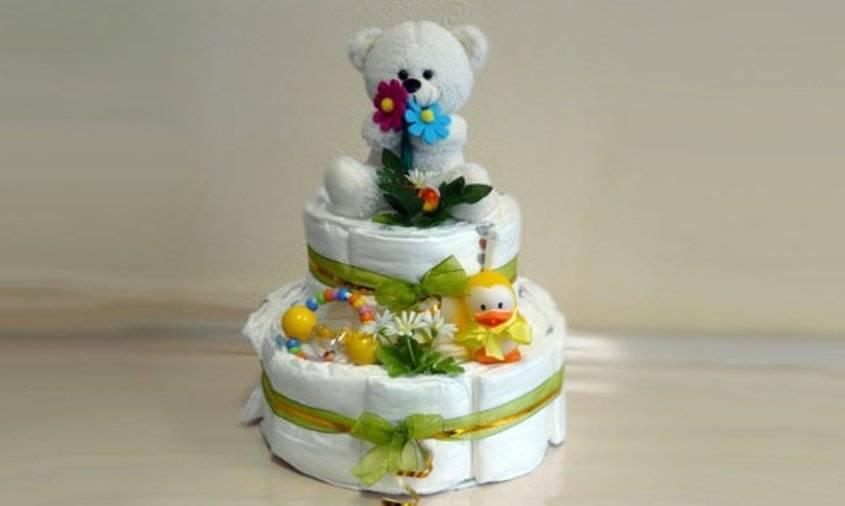 Торт из памперсов своими руками: оригинальный подарок для малыша