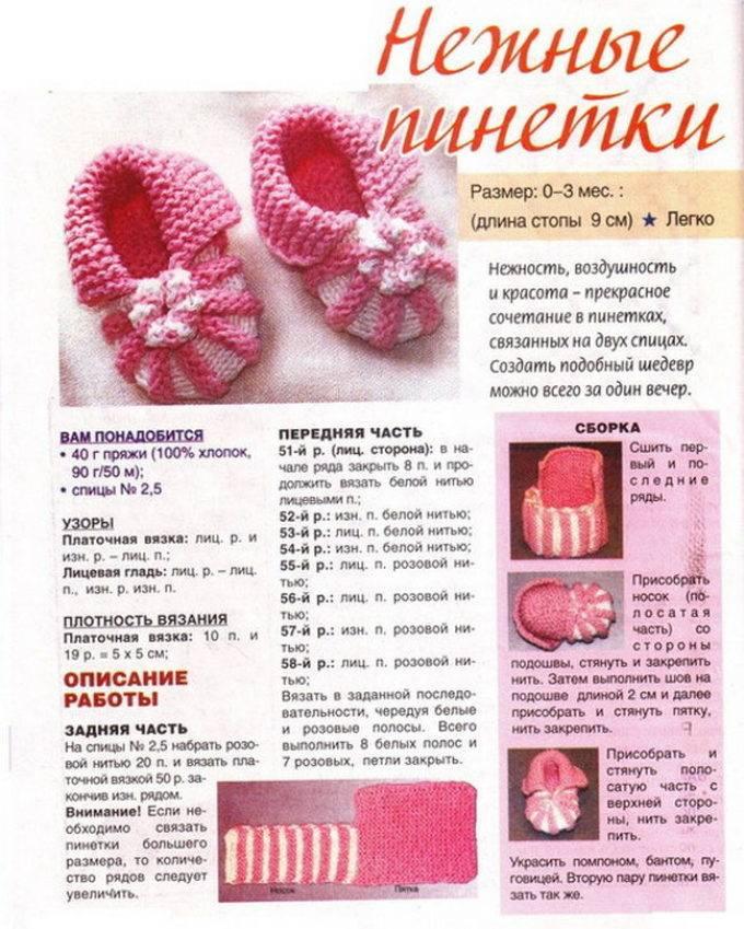 Вязание пинеток спицами для детей от 0 до 1 года с описанием и схемами. размер пинеток по месяцам