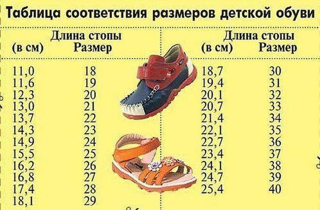 Размер ноги ребенка по возрасту - таблица