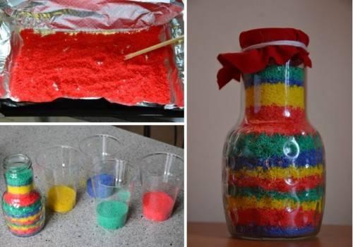 Цветной песок своими руками в домашних условиях. как сделать цветной песок своими руками как изготовить цветной песок своими руками