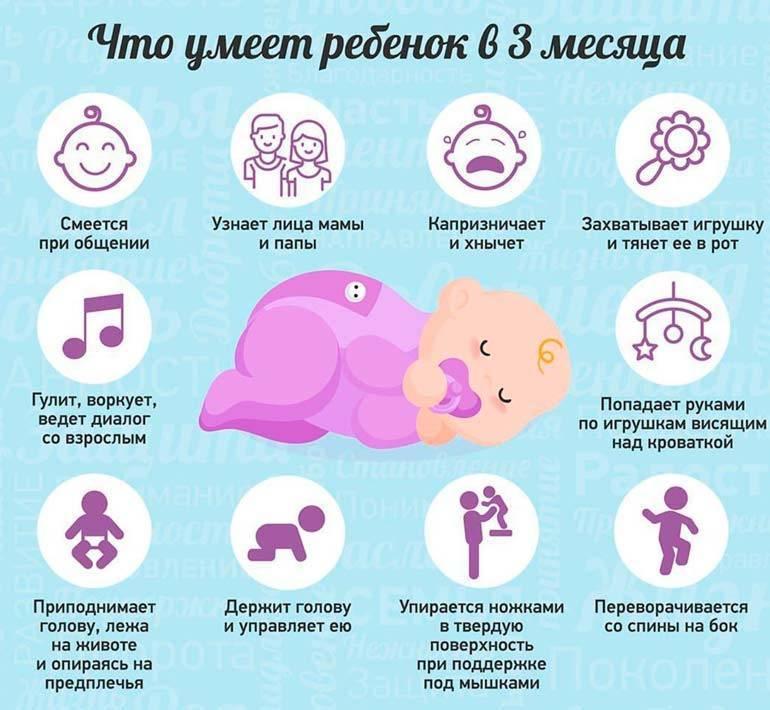 Развитие ребенка в 3 месяца — что должен уметь, уход, режим дня