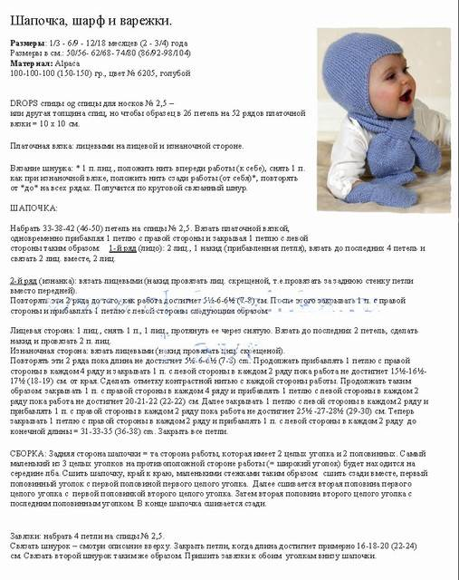 Чепчик для новорожденного спицами - описание схемы вязания для начинающих