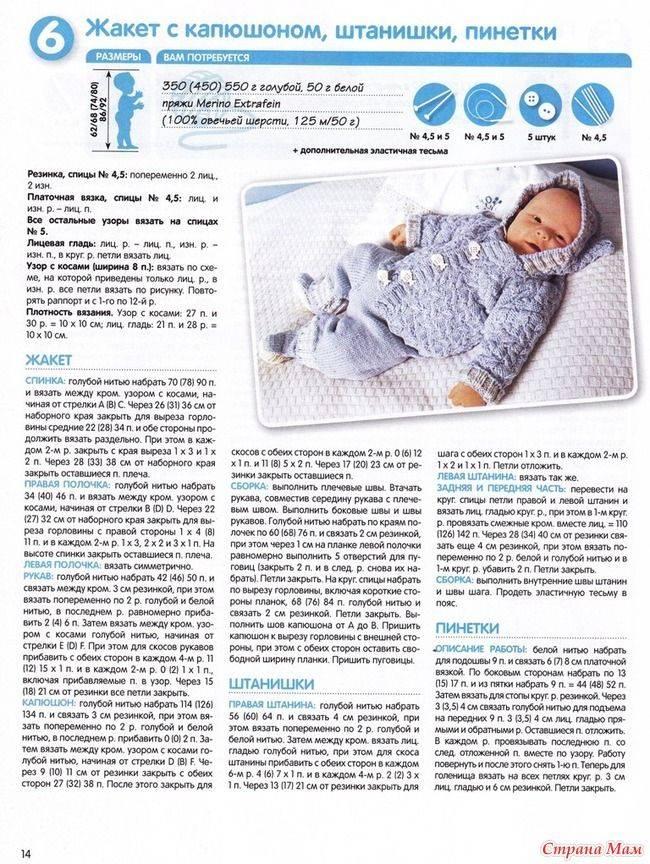 Как связать спицами комбинезон для малыша от 0 до 6 месяцев