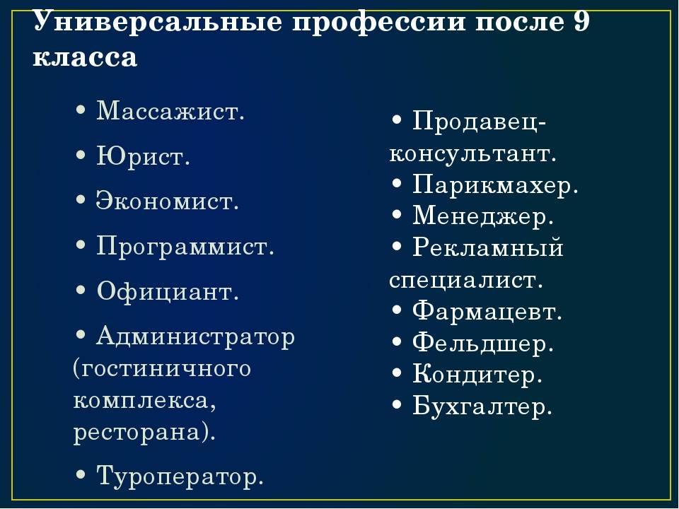 Список профессий после 9 класса, востребованные специальности