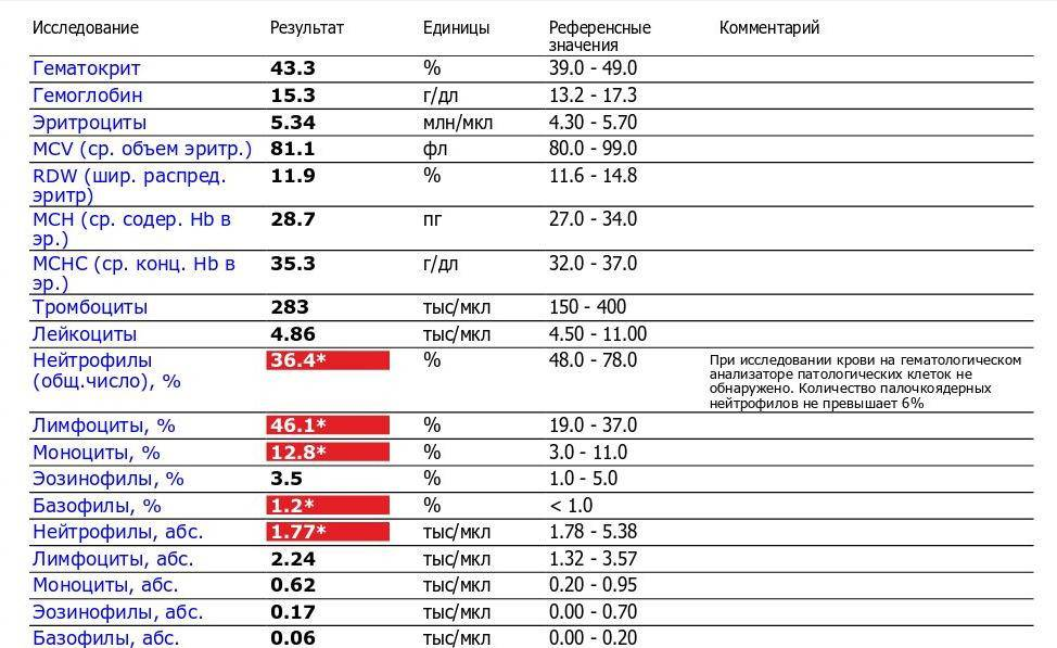 Моноцитоз: повышенные моноциты в результатах анализа крови | университетская клиника