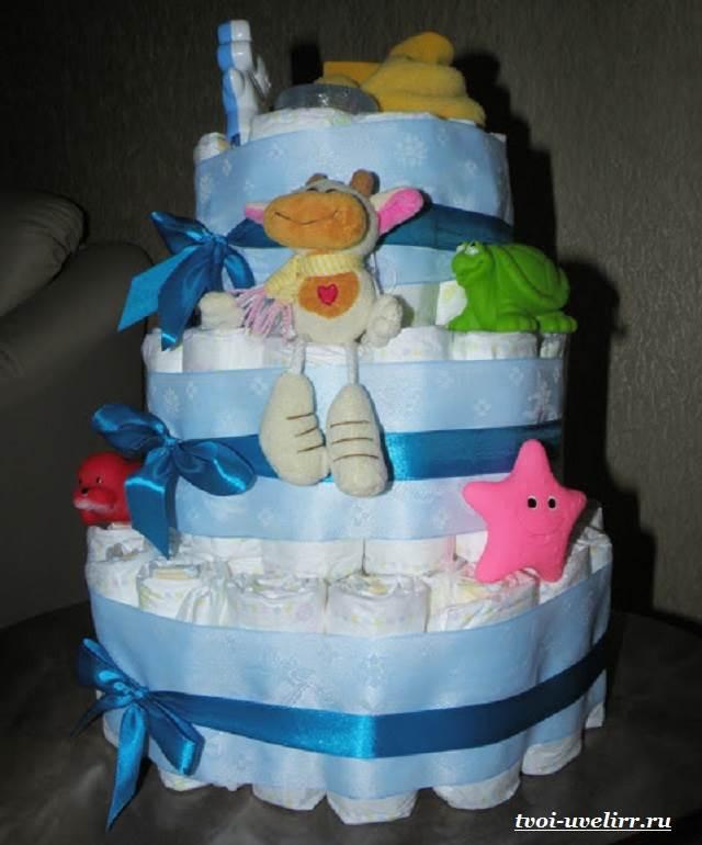 Торт из памперсов своими руками: мастер-класс по созданию для девочки и мальчика