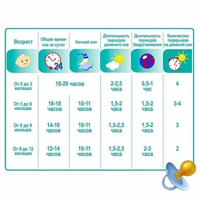 Как меняется режим сна и бодрствования у ребенка от рождении до года?