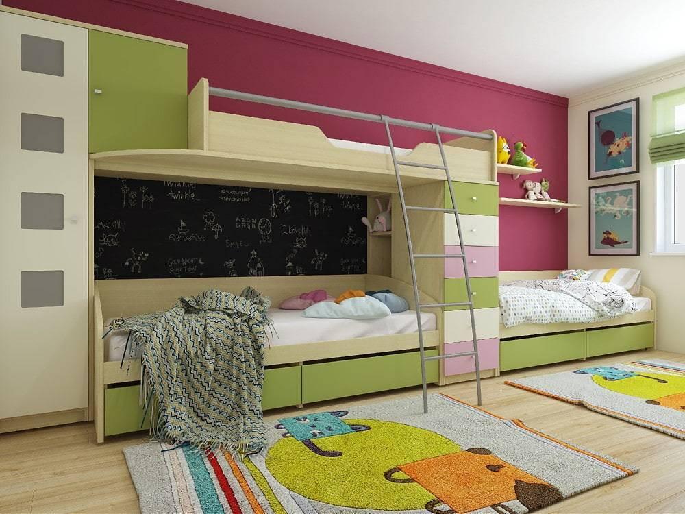 Как обустроить детскую комнату для троих детей - 35 фото-идей