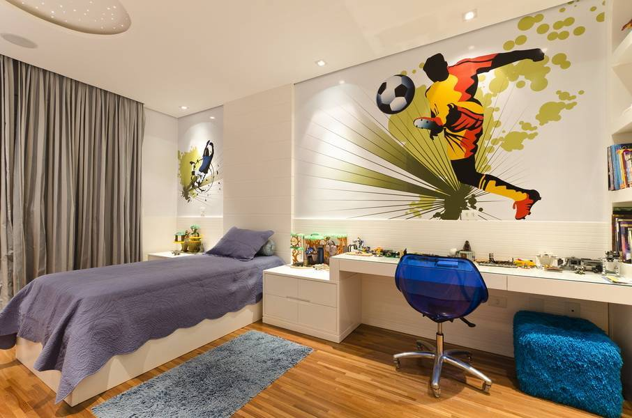 Обои для подростковой комнаты мальчика: фото дизайна стен детской спальни