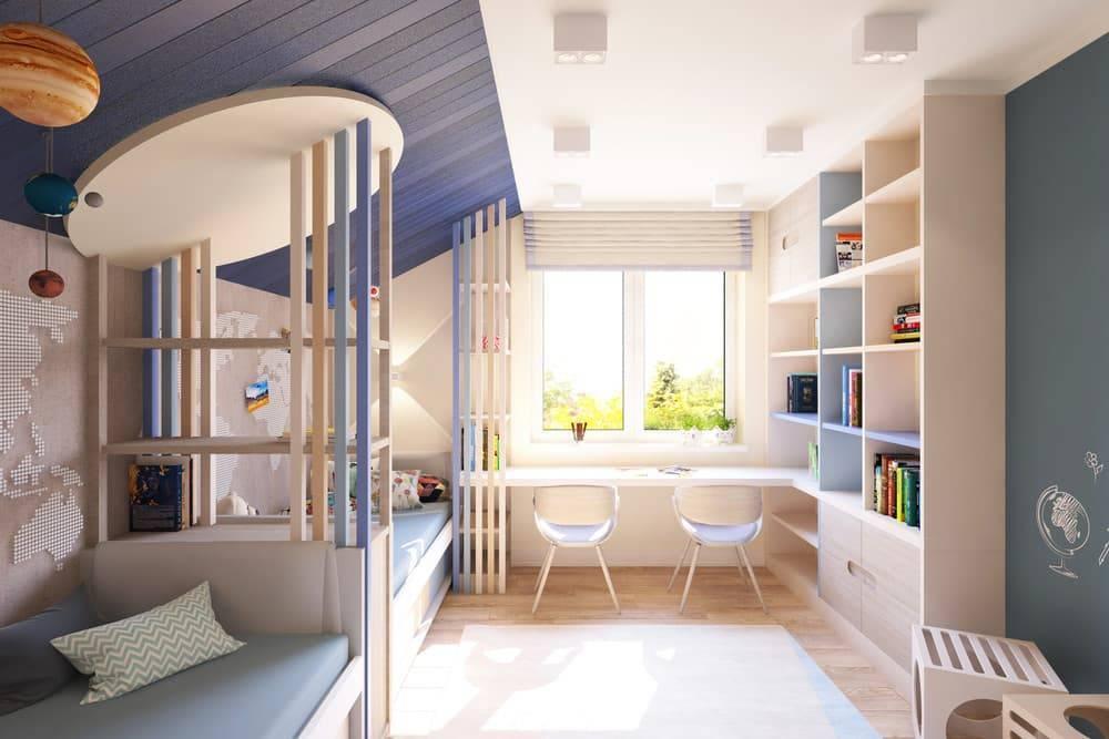 Детская комната для двух разнополых детей: 75 фото оформления