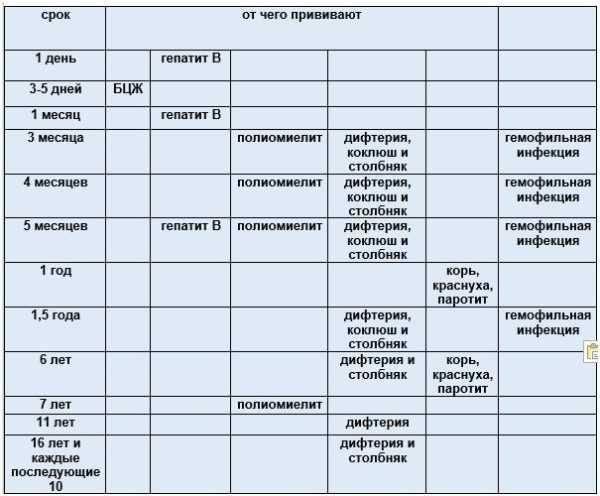 График прививок для всех возрастов: таблица 2021
