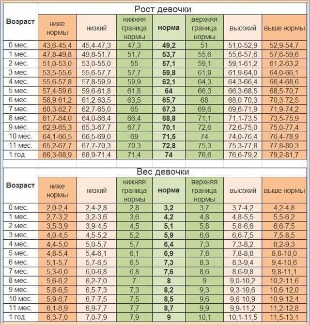 Таблица роста малышей до 1 года: норма прибавки за месяц мальчиков и девочек