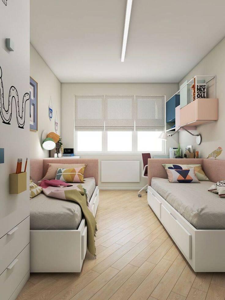 Дизайн узкой детской комнаты для девочки, мальчика и двух детей: фото интерьера