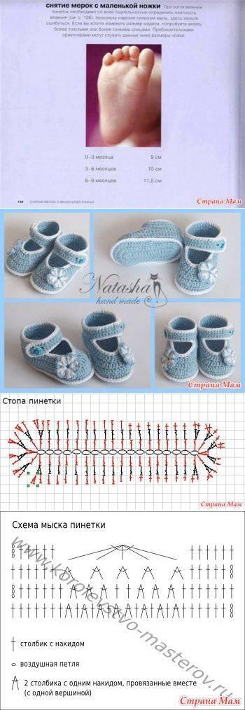 Пинетки крючком для новорожденных: мастер-класс, пошаговое фото, схемы