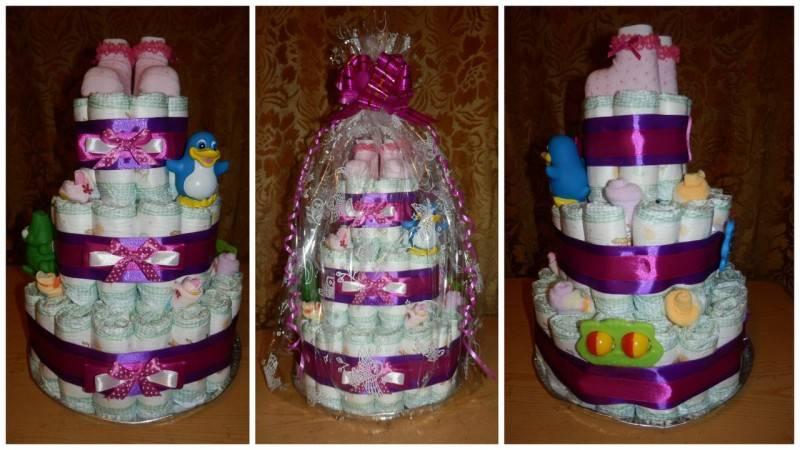 Готовим торт из памперсов своими руками - интересные идеи оформления подарка
