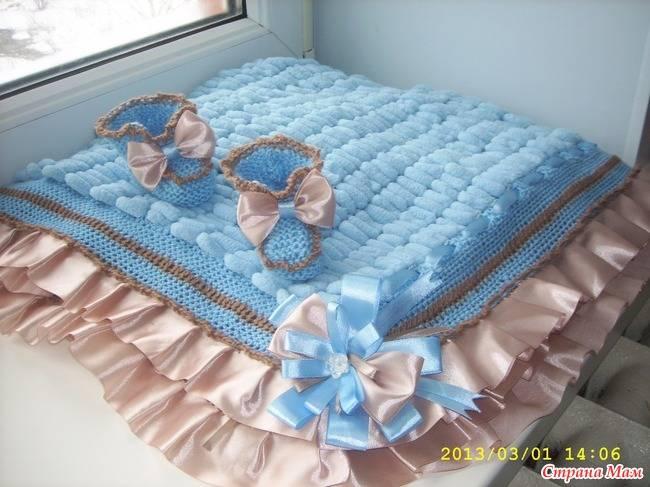 Одеяла и пледы для новорождённых, вязание детского пледа на выписку из роддома