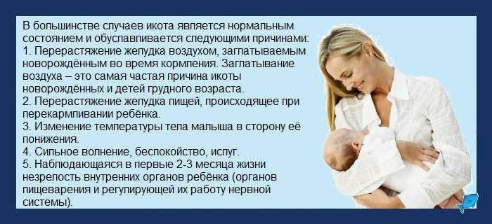 Икота у новорожденных после кормления: причины, что делать, как помочь