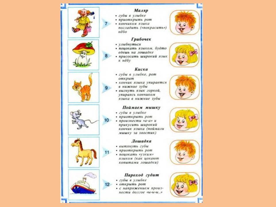 Развитие мышц артикуляционно-речевого аппарата (логопедические упражнения)