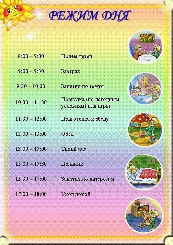 Режим дня в детском саду - детский сад