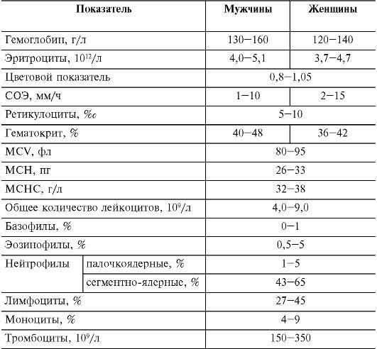 Какие основные показатели в анализе крови?
