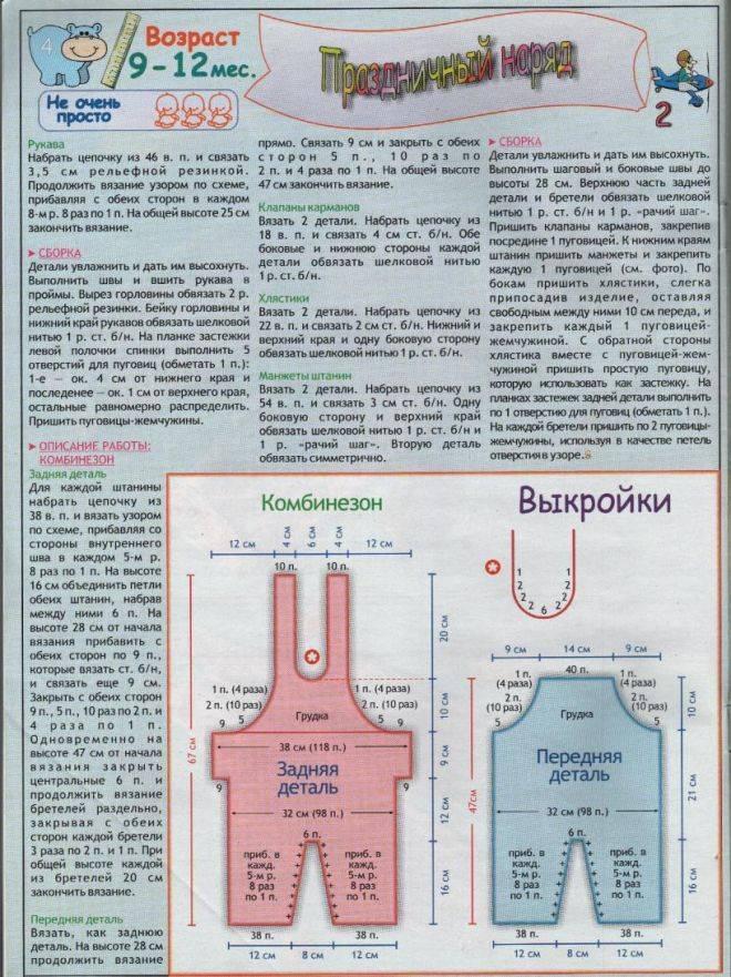Вязаный комбинезон для новорождённого спицами пошагово